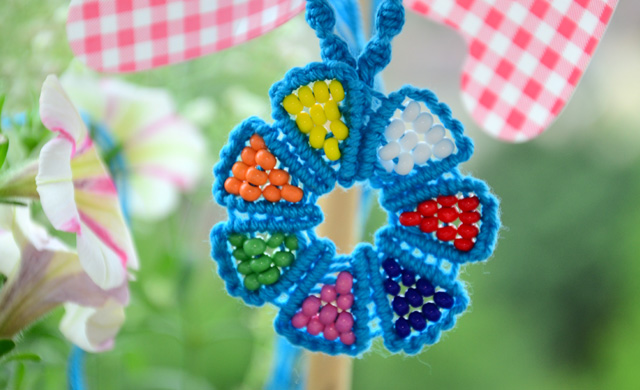 Beaded Macrame Flower - Necklace