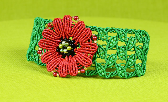 Leaf Bracelet with Poppy