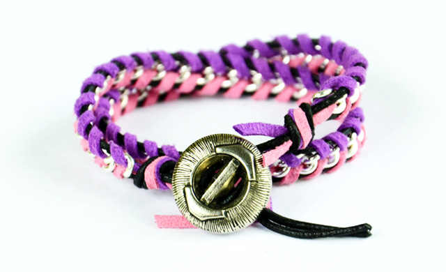 Leather Wrap Bracelet With Chain